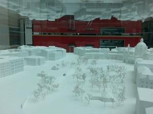 Modell des Karlsplatzes mit dem Wien Museum hinten in der Mitte - eine städtebauliche Herausforderung