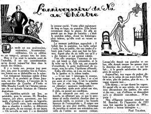 """""""l'anniversaire du nu"""". Zeitungsausschnitt von 1923, Frou Frou"""