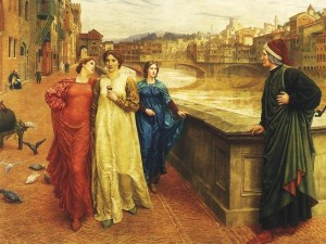 Henry Holiday, Dante trifft Beatrice an der Brücke Santa Trinita (1883, Liverpool)