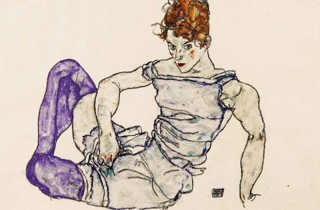 Egon Schiele, Sitzende Frau in violetten Strümpfen, 1917 (©Privatsammlung Richrad Nagy London)