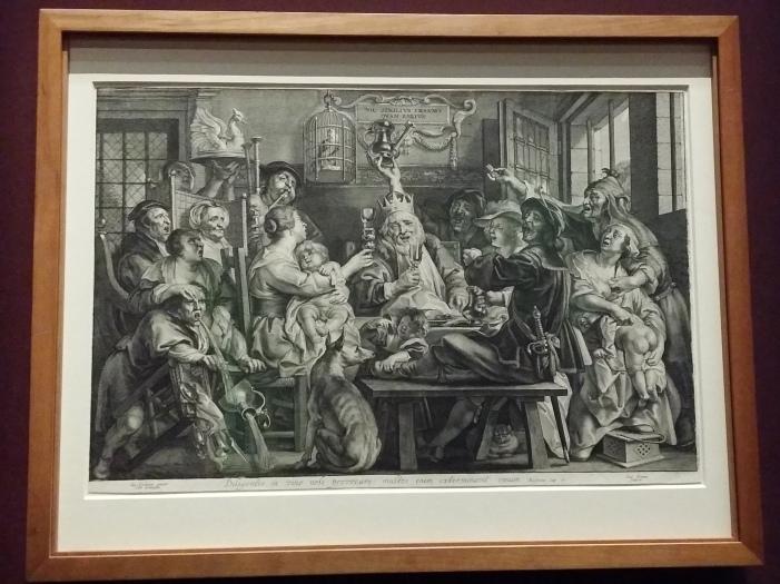 """Die etwas derbere Variante von festlichen Lustabrkeiten: """"Der Bohnenkönig"""", Paulus Pontius nach Jacob Jordaens (um 1640)"""