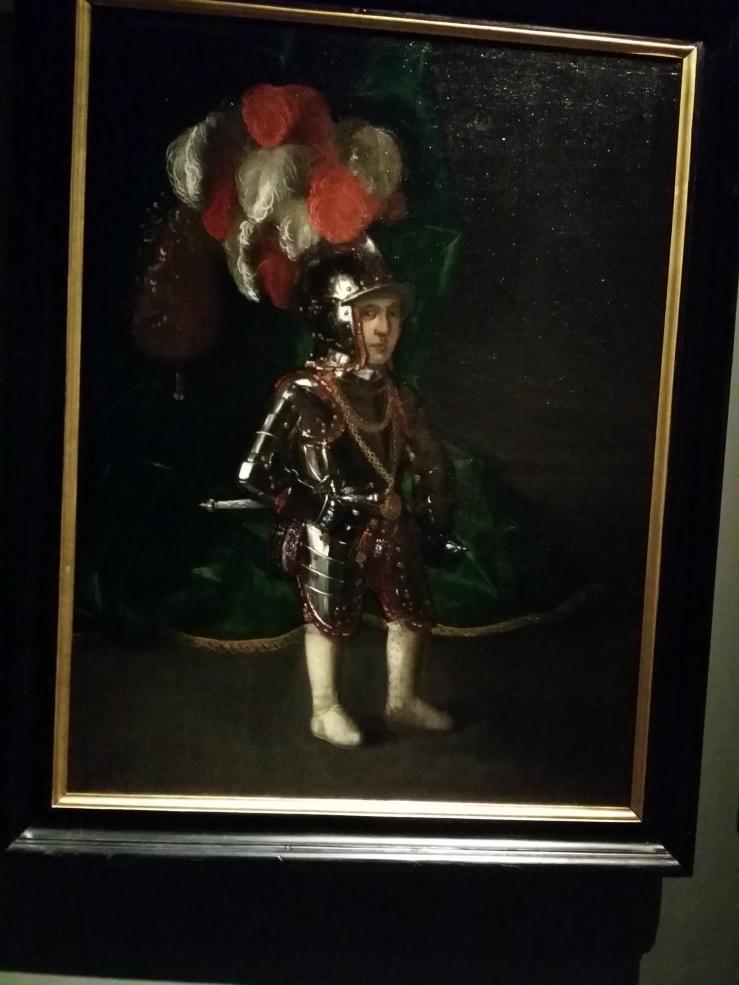 Wahrscheinlich der Hofzwerg Thomele in Rüstung (ca. 1560-1580). In einer solchen Rüstung sprang er bei einem Hochzeitsfest zum Gaudium der Gäste aus einer Pastete.