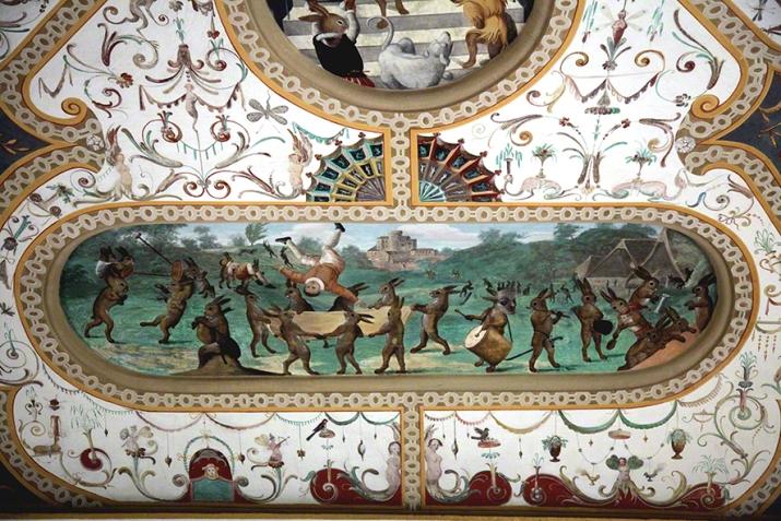 Verkehrte Welt. Fresken im Schloss Bučovice (CZ). Künstler ?