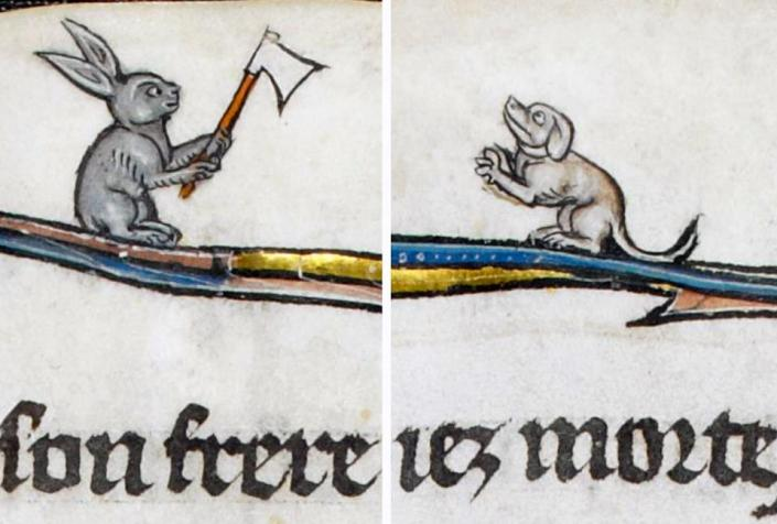 Hase mit Beil - armer Hund. La Somme le Roy, France ca. 1290-1300 (British Library, Add. 28162, fol. 12v)