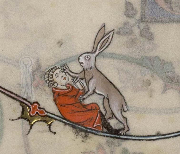 Kein freundlicher Hase. Summer volume of the Breviary of Renaud/Marguerite de Bar, Metz ca. 1302-1305 (Verdun, Bibliothèque municipale, ms. 107, fol. 96v)