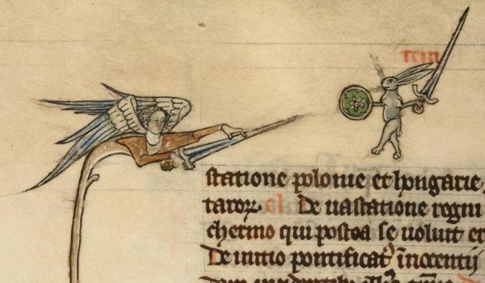 Hase gegen Engel. Vincent of Beauvais, Speculum historiale, France ca. 1294-1297 (Boulogne-sur-Mer, Bibliothèque municipale, ms. 130II, fol. 319v)