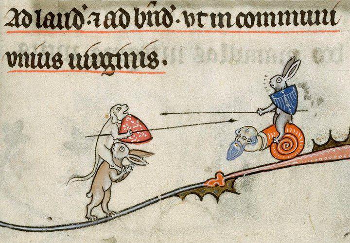 Kämpfende Hasen, kämpfende Hunde, kämpfende Schnecken? British Library, Yates Thompson 8, fol. 294r (Breviary of Renaud de Bar, Metz 1302-1303)
