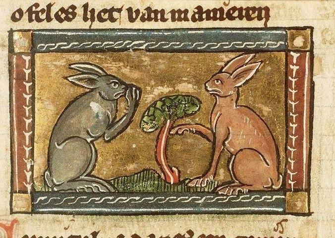 Hängt der Haussegen schief? Jacob van Maerlant, Der Naturen Bloeme, Flanders ca. 1350 (Den Haag, Koninklijke Bibliotheek, KA 16, fol. 53r)