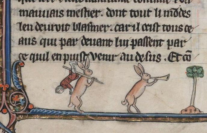 Jagdbeute. Le livre de Lancelot du Lac, France 13th century (Beinecke, MS 229, fol. 94v)