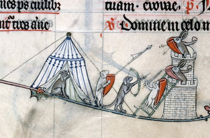 Hunde gegen Hasen. Summer volume of the Breviary of Renaud/Marguerite de Bar, Metz ca. 1302-1305 (Verdun, Bibliothèque municipale, ms. 107, fol. 137r)