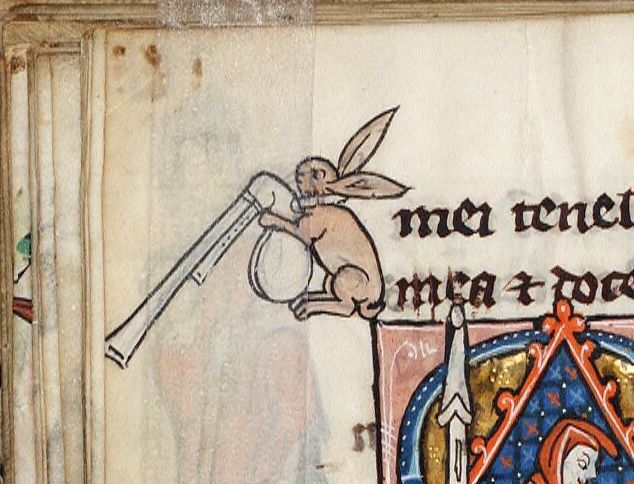 Schottischer Hase. Rothschild Canticles, Flanders 14th century (Beinecke Rare Book and Manuscript Library, MS 404, fol. 180v)