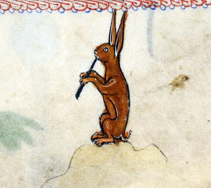 Musikalischer Hase 3. 'The Rutland Psalter', England ca. 1260 (British Library, Add 62925, fol. 100r)
