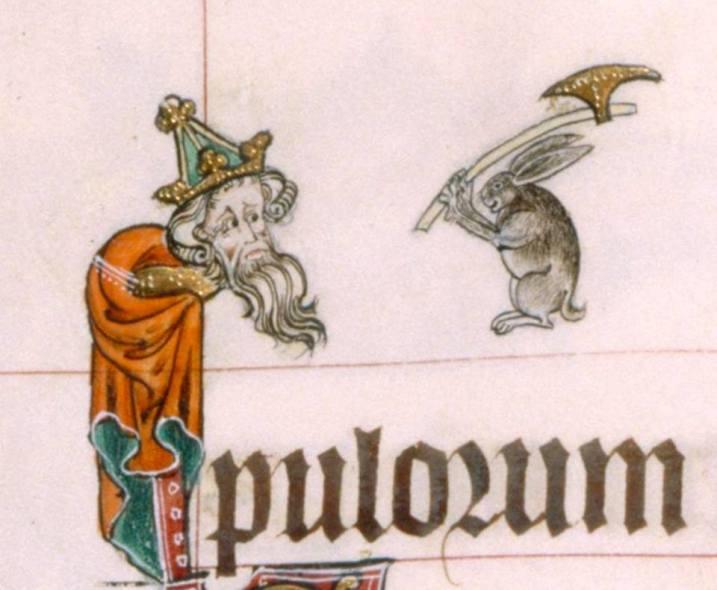 Schon wieder ein Beil. Gorleston Psalter, England 14th century (British Library, Add 49622, fol. 13v)