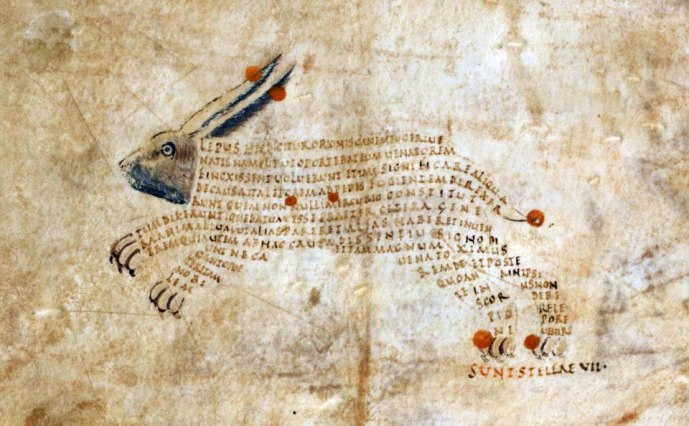 Sternbild Hase. Cicero's Aratea with Hyginus's Astronomica, Reims(?) ca. 820-850 (British Library, Harley 647, fol. 9r)