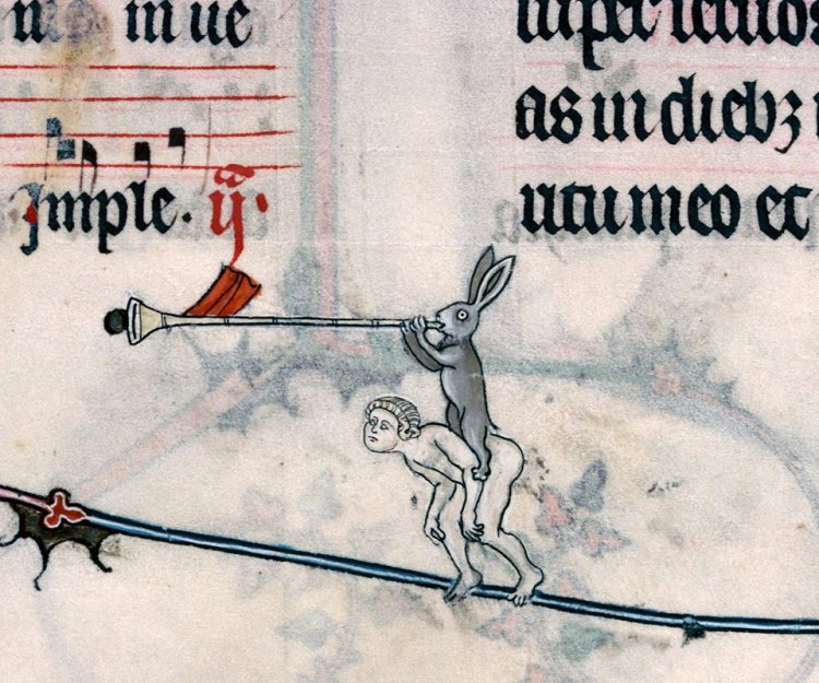 Musikalischer Hase 1. Summer volume of the Breviary of Renaud/Marguerite de Bar, Metz ca. 1302-1305 (Verdun, Bibliothèque municipale, ms. 107, fol. 105r)