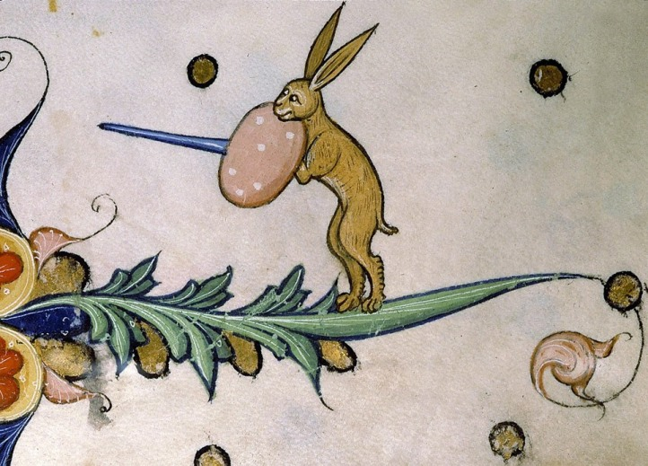 Aggressiver Hase. Pontifical of Guillaume Durand, Avignon, before 1390 (Paris, Bibliothèque Sainte-Geneviève, ms. 143, fol. 52r)