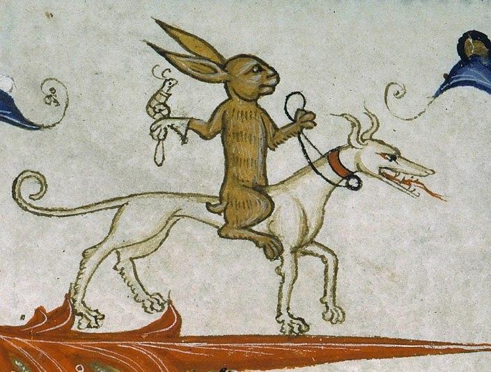 Hase-Ritter, Hund-Pferd, Schnecke-Falke :) Pontifical of Guillaume Durand, Avignon, before 1390 (Paris, Bibliothèque Sainte-Geneviève, ms. 143, fol. 165r)