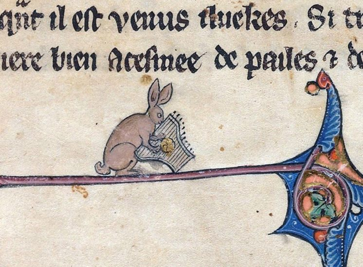 Musikalischer Hase 4. Le livre de Lancelot du Lac and other Arthurian Romances, Northern France 13th century (Beinecke Rare Book and Manuscript Library, MS 229, fol. 1r)