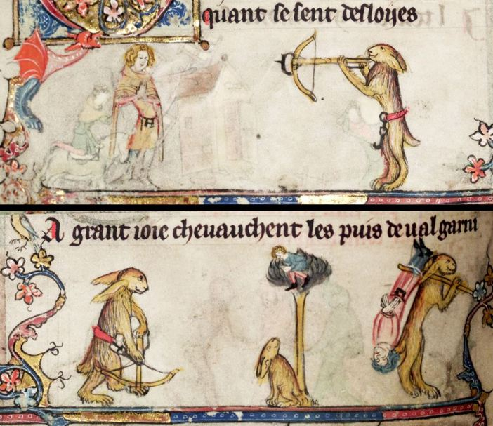Jagd mit der Armbrust. Roman d'Alexandre, Tournai ca. 1338-1344 (Bodleian Library, MS. Bodl. 264, fol. 94v)