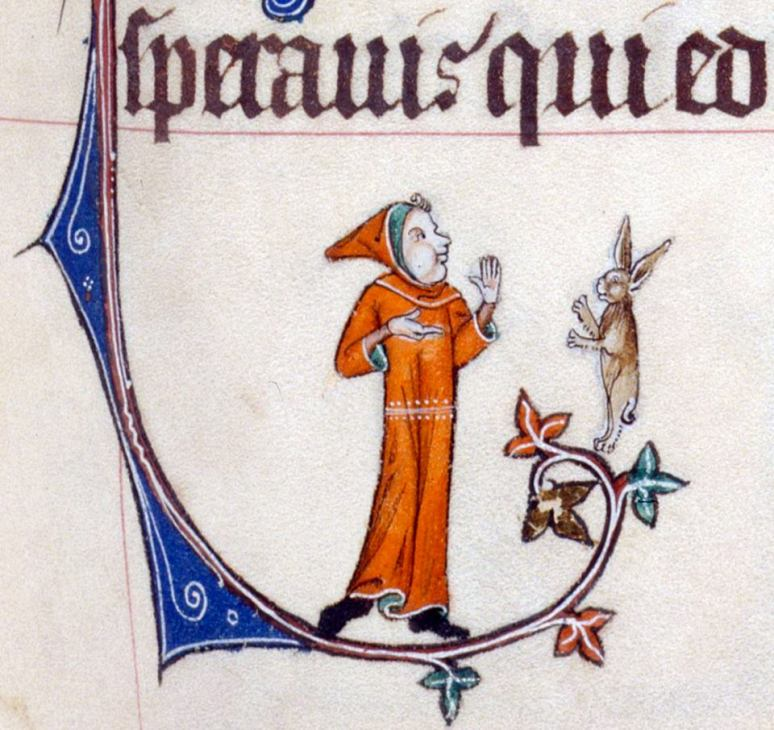 Gelehrter Disput. Gorleston Psalter, England 14th century (British Library, Add 49622, fol. 56r)
