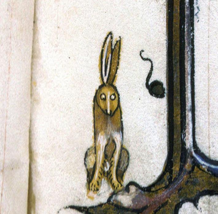 Glotzender Hase. Vincent of Beauvais, Speculum historiale, France ca. 1346 (Lyon, Bibliothèque municipale, ms. 182, fol. 1r)