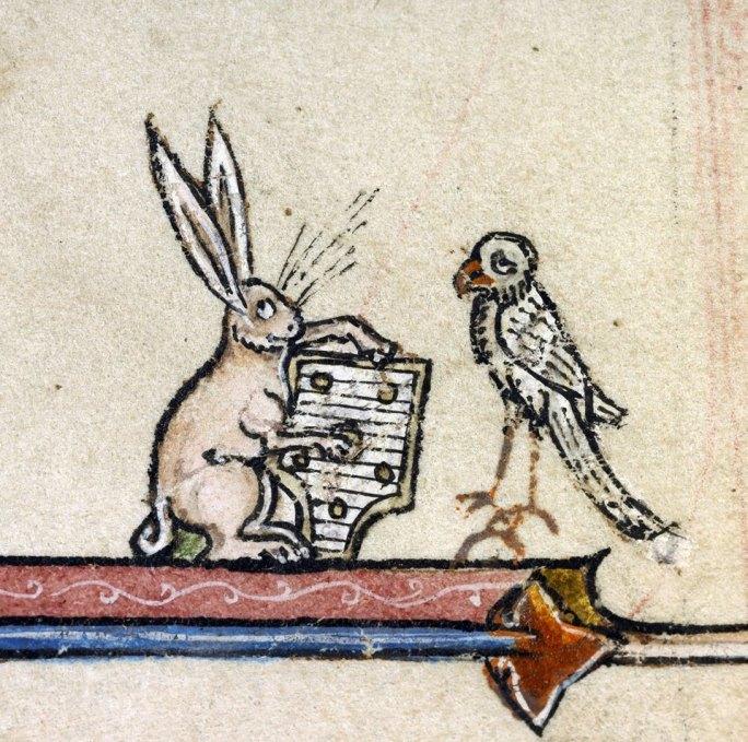 Musikalischer Hase 6 + Sänger. Vincent of Beauvais, Speculum historiale, France ca. 1294-1297 (Boulogne-sur-Mer, Bibliothèque municipale, ms. 130I, fol. 344r)