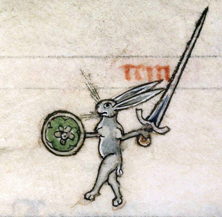 Kriegerischer Hase. Vincent of Beauvais, Speculum historiale, France ca. 1294-1297 (Boulogne-sur-Mer, Bibliothèque municipale, ms. 130II, fol. 319v)