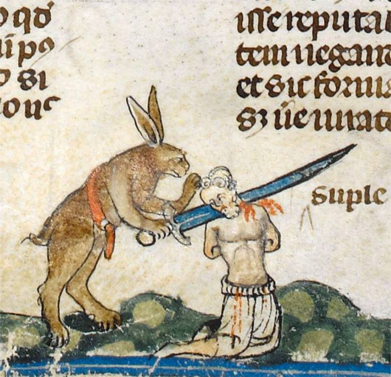 Ein Wahnsinn, diese Hasen! 'The Smithfield Decretals' (Decretals of Gregory IX with glossa ordinaria), Tolouse ca. 1300, illuminations added in London ca. 1340 (British Library, Royal 10 E IV, fol. 61v)