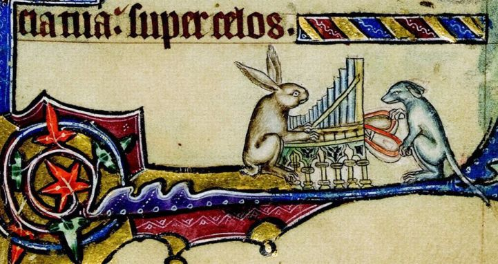 Hund und Hase an der Orgel. Macclesfield Psalter, England ca. 1330 (Cambridge, Fitzwilliam Museum, fol. 8r)