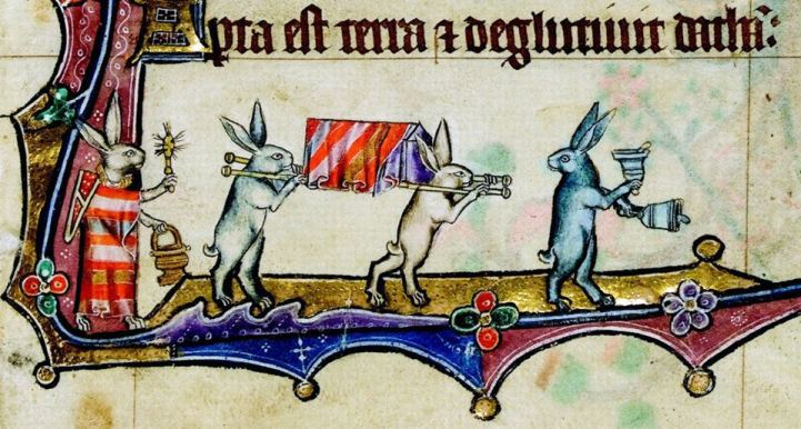 Begräbnisprozession. Macclesfield Psalter, England ca. 1330 (Cambridge, Fitzwilliam Museum, fol. 11r)
