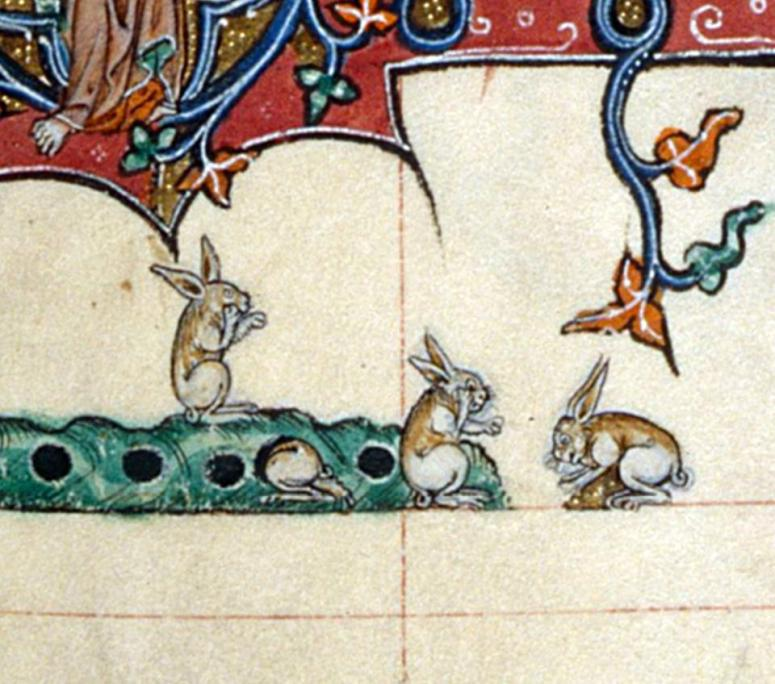 Hasen mit Handys? Gorleston Psalter, England 14th century (British Library, Add 49622, fol. 107v)