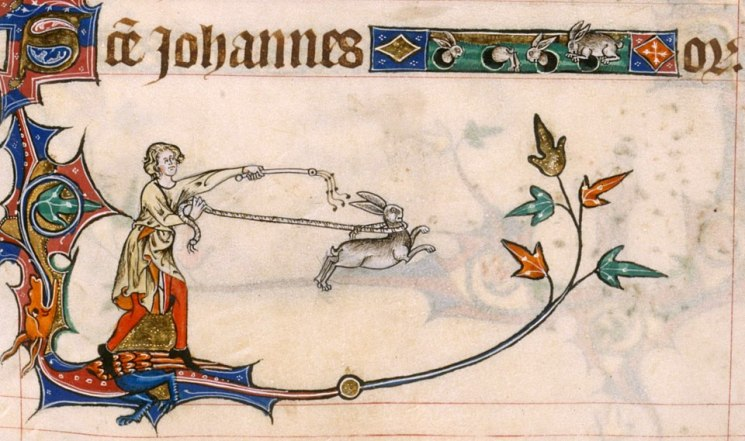 Die Hsen oben haben's lustiger. Gorleston Psalter, England 14th century (British Library, Add 49622, fol. 209r)