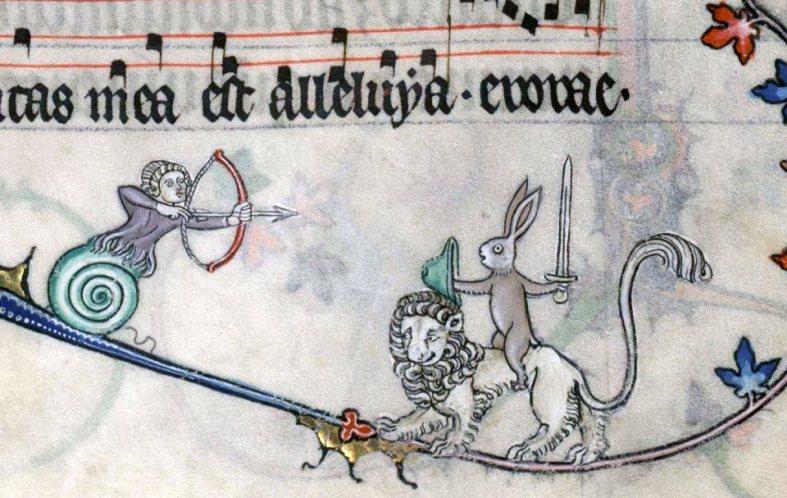 Hase kämpft auf Löwe. Summer volume of the Breviary of Renaud/Marguerite de Bar, Metz ca. 1302-1305 (Verdun, Bibliothèque municipale, ms. 107, fol. 89r)