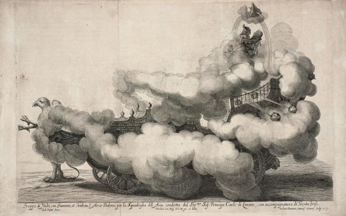 Der Wettstreit von Luft und Wasser. Die Luft, Festwagen, Wiener Rossballett, 1667 (Kupferstich von Gerard Bouttats nach Nikolaus van Hoy) © Theatermuseum, Wien