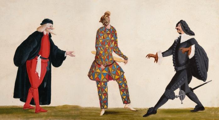 Pantalone, Arlecchino, CapitanoLodovico ( Ottavio Burnacini, Wien um 1680) © Theatermuseum, Wien