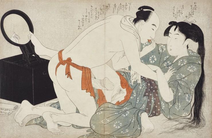 Kitagawa Utamaro (1753–1806), Sommerabend, 1799. Aus dem Album Negai no itoguchi [Erwachen der Begierde]. Farbholzschnitt © Leopold Privatsammlung, Wien; Foto: MAK/Georg Mayer