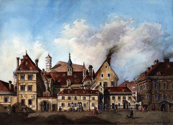 Das alte Landhaus in der Herrengasse, ein wichtiges Zentrum der Protestanten (historische Darstellung aus dem 19. Jahrhundert) © Wien Museum